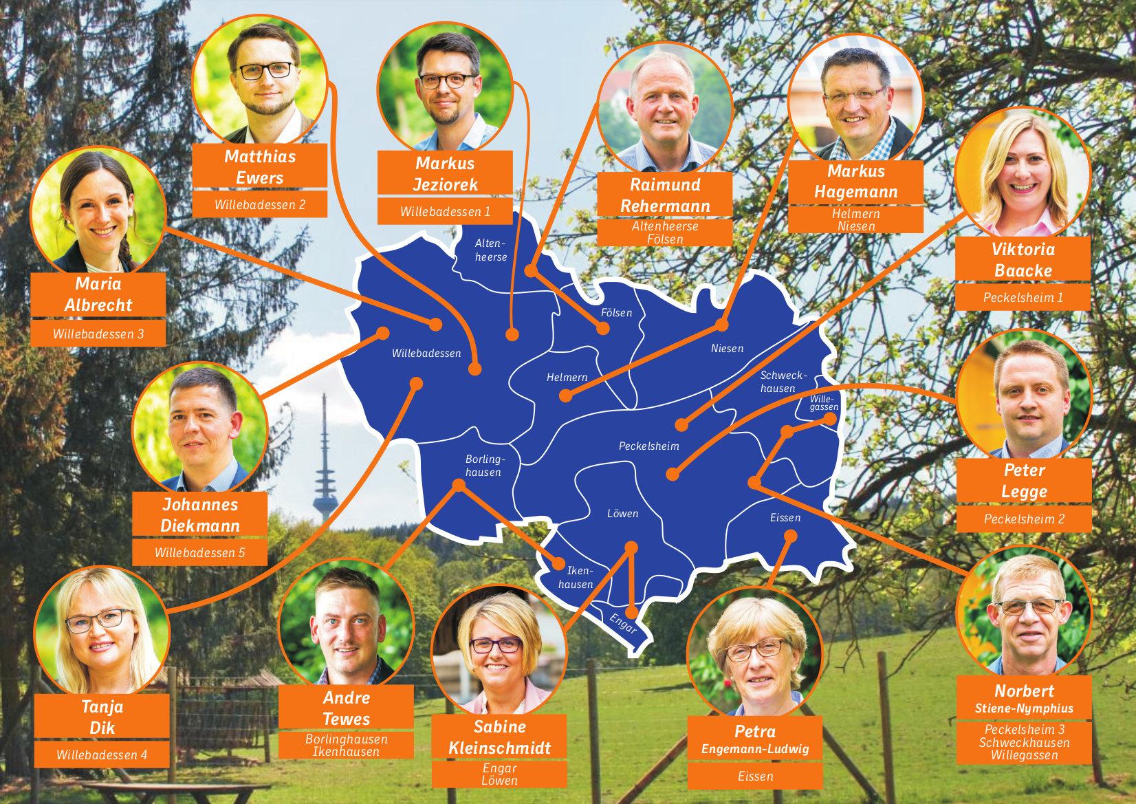 Karte der Stadtratskandidaten zur Kommunalwahl 2020